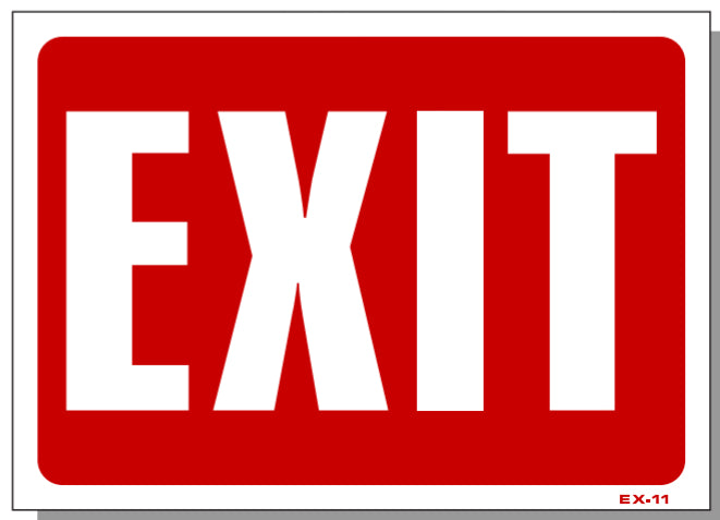 Exit Sign, (Reverse-Red On White) EX11