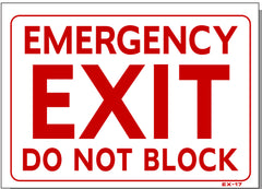 Emergency Exit Do Not Block Sign, EX17