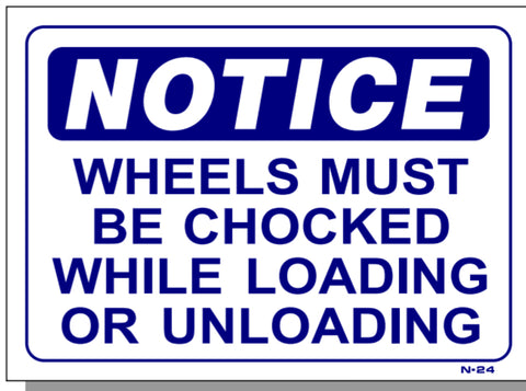 Notice-Wheels Must Be Chocked While Loading Or Unloading Sign, N24