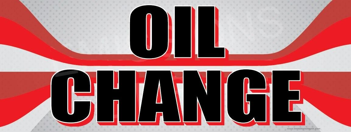 Oil Change | Red and Gray Lines | Vinyl Banner