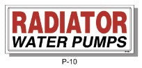 RADIATOR / WATER PUMPS SIGN, P-10