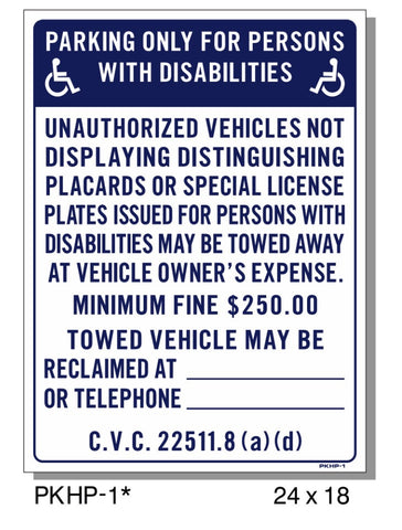 PARKING ONLY-FOR PERSONS WITH DISABILITIES SIGN