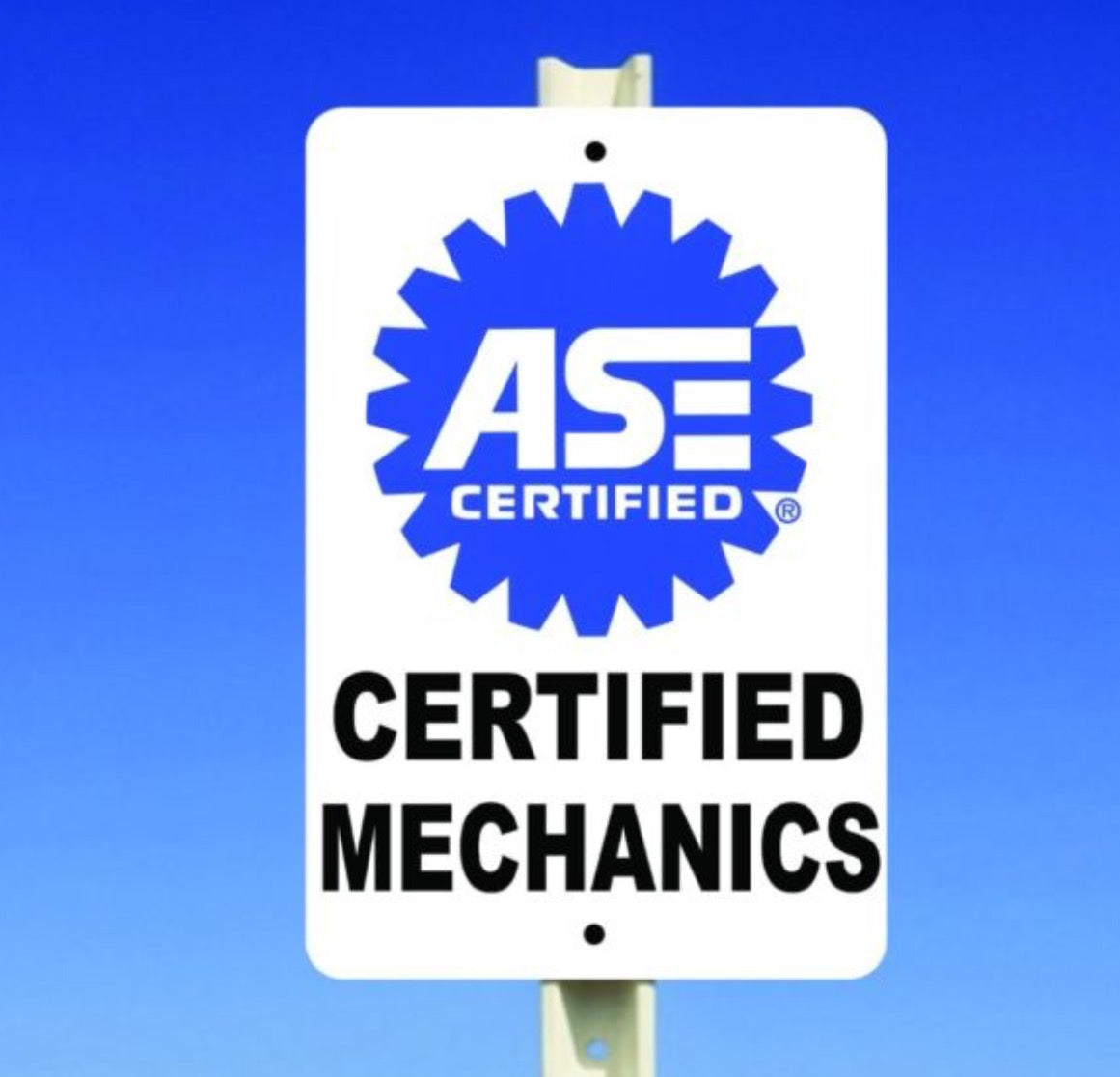 Ase Certified Mechanics Aluminum Sign 8 X 12 Smogchecksupplies