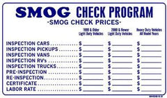 "UPDATED 2017 SMOG CHECK PRICES SIGN, 13"" X 24"",SMOG 2.3"