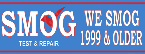 We Smog 1999 & Older | Smog Word Big | Test and Repair | Vinyl Banner