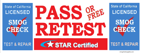 Pass or Free Retest | Star Certified | TEST AND REPAIR | Vinyl Banner