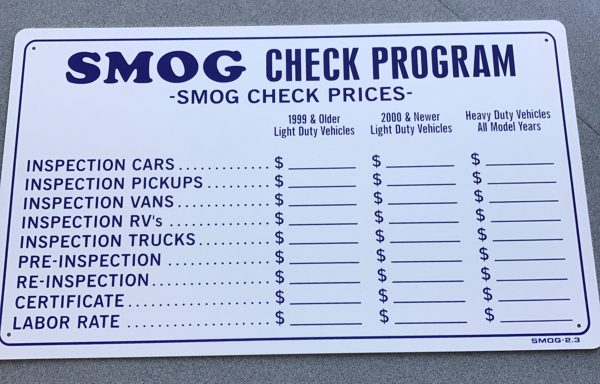 Smog Check Prices Near Me >> Updated 2017 Smog Check Prices Sign 13 X 24 Smog 2 3 877 438 7761