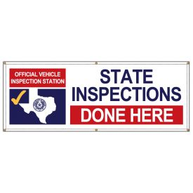 TEXAS Official Vehicle Inspection Station Banner