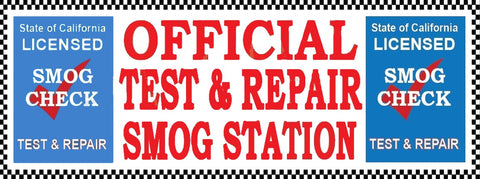 Official Test & Repair Smog Station | Blue Shield | Checkered | Vinyl Banner