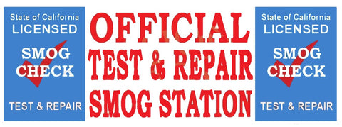 Official Test & Repair Smog Station | Blue Shield | Vinyl Banner