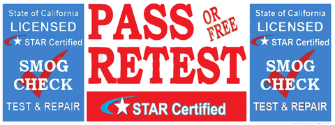 Pass Or Free Retest | Test & Repair | Star Certified Blue Shield Version 2 | Vinyl Banner