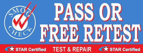 Pass Or Free Retest | Test and Repair | Star Certified | Vinyl Banner