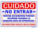 Dyno Do Not Enter Warning Sign Spanish (Smog-11SP)