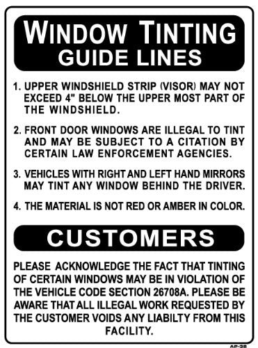 Window Tinting Guide Lines Sign, AP-32