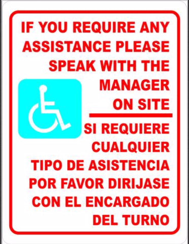 Bilingual Sign, Handicapped Assistance Available