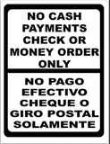 Bilingual No Cash-Checks or Money Orders Only Sign