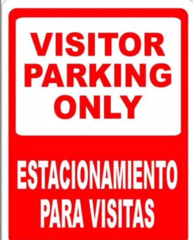 Bilingual Sign, Visitor Parking Only