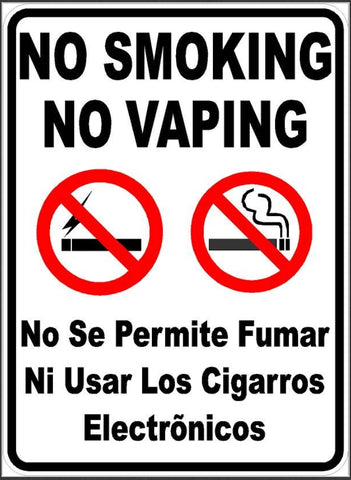 Bilingual Smoking or Vaping Is Not Permitted Sign