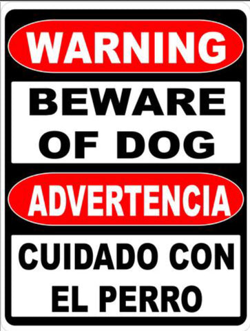 Bilingual Sign, Warning Beware of Dog