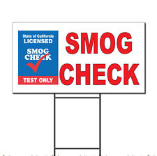 Smog Check Test Only Corrugated Plastic Yard Sign /Free Stakes