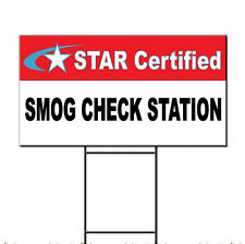 Star Certified Smog Check Station Plastic Yard Sign