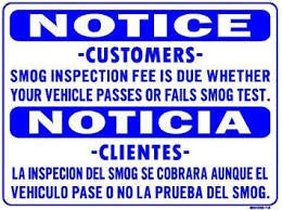 SMOG INSPECTION FEE NOTICE, ENGLISH AND SPANISH, SMOG 14