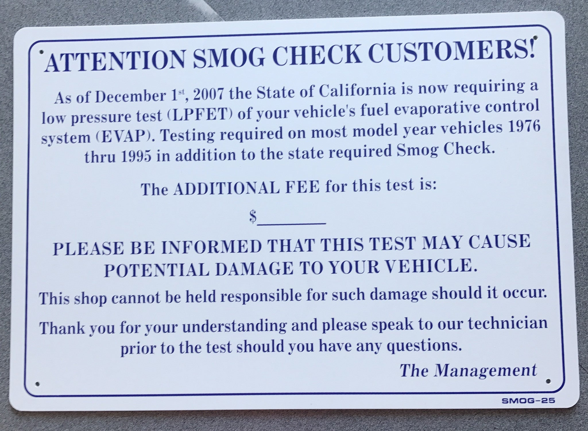 Evap Test Price Sign With Cost Damage Warning Smog 25