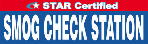 Star Certified Smog Check Station Banner, Several Different Sizes To Choose From