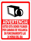 Spanish 24 Hour Video Surveillance Sign