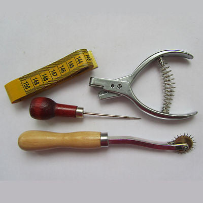PATTERN DESIGNER SET, NOTCHER + AWL + TRACING WHEEL + TAPE , MEASURING  PUNCHER