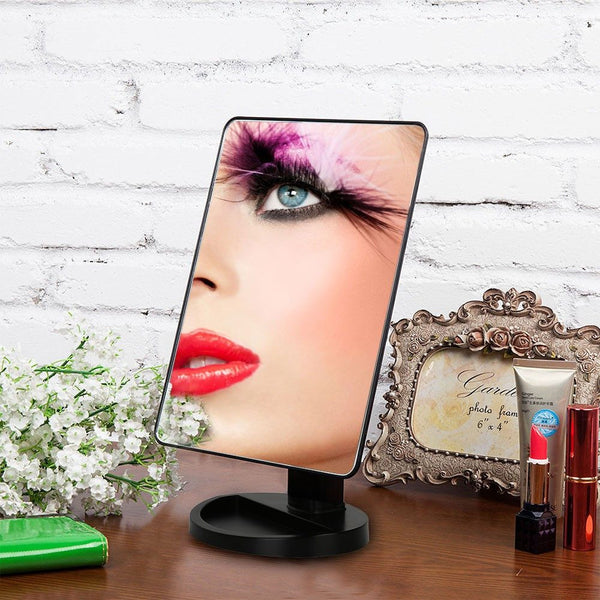 Professional LED Vanity Mirror Countertop 180 Rotating + Free Detachable Mirror