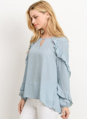 Spring Ruffle Top - Blue
