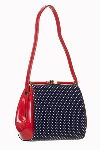 Polka Dot Retro Purse - Navy/Red