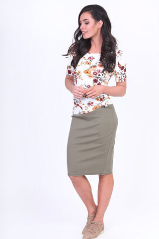 Janice Pencil Skirt - Sage