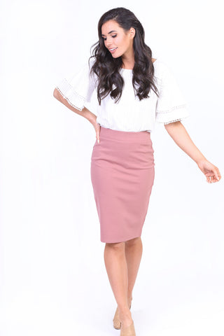 Janice Pencil Skirt - Mauve