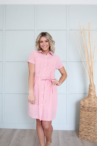 Shelli Striped Shirt Dress