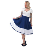 Tori Border Skirt - Navy & White