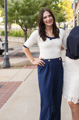 Jane Navy High Waisted Pants