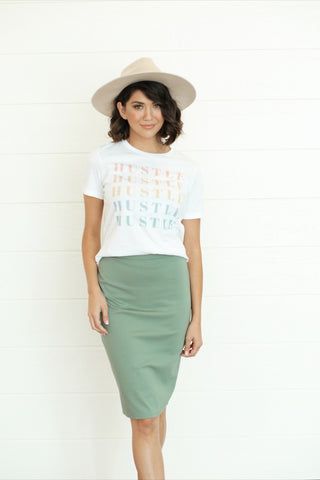 Iris Pencil Skirt - Seafoam