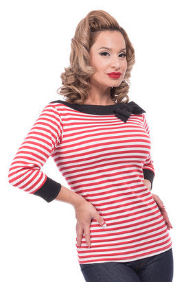 Jill Striped Bow Top - Red