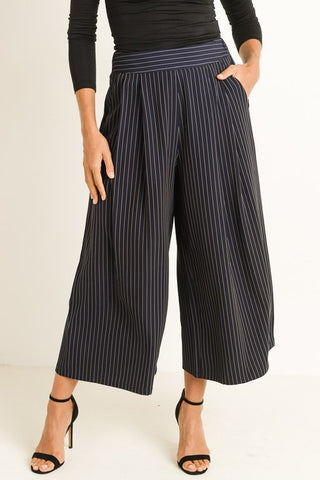 Nina Navy Striped Pinstripe Pants