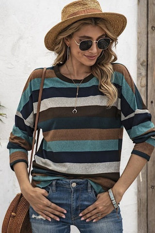 Teal/Navy/Brown Striped Sweater