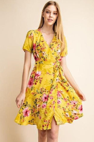 Hailey Yellow Floral Dress