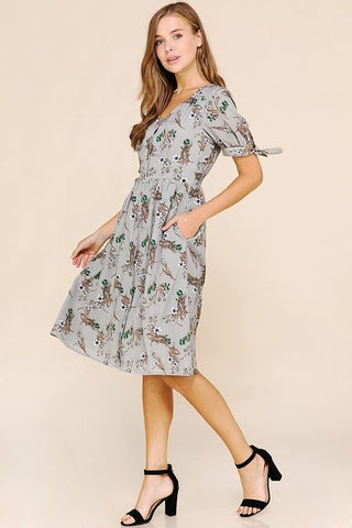 Gwendolyn Floral Dress - Gray