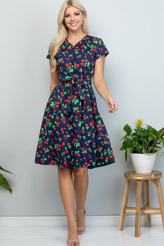 Navy Cherry Swing Dress