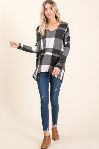 Black & White Plaid Sweater