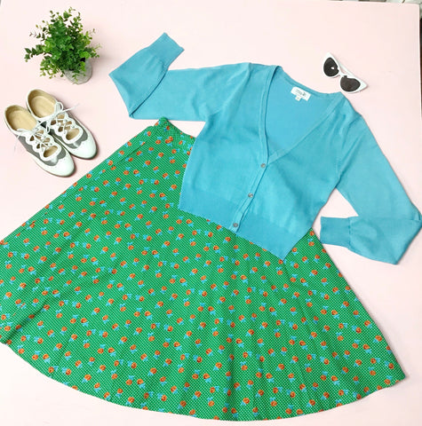 Jenna Floral Circle Skirt - Green