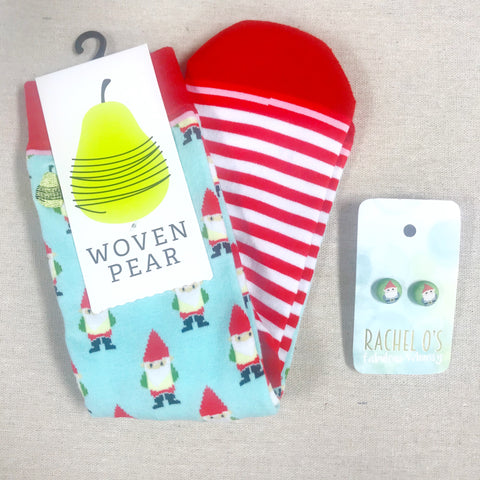 Gnome Socks/Earrings Gift Set