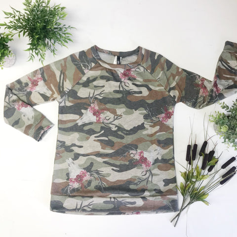 Rainey Top - Camo/Skull/Floral