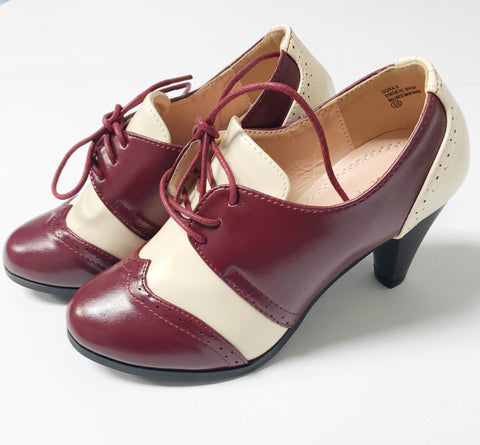Shay Vintage Shoe - Burgundy/Cream